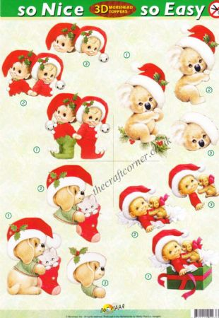 Christmas Koala Bear and Other Animals So Nice, So Easy Morehead 3D Die Cut Decoupage Sheet